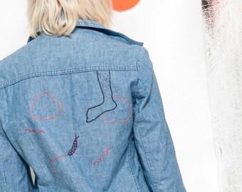 5ecdc053eb 70s vintage reworked denim jacket 70 s vntg Wrangler coatie w feminist  embroidery O-ring zipper
