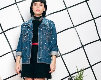 8c81be813f 70s vintage reworked denim jacket 1970 bleached jean oversized grunge jacket