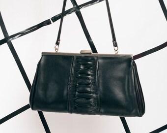 Vegan leather bag - 70s vintage black purse 6c5a3ec57c