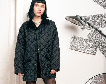 9327ab84db606 90s vintage puffer jacket 90's vntg windbreaker Quilted coat Grunge  minimalist black coat