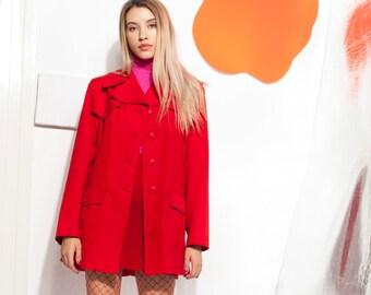 Red jacket 70s vintage trench coat 70 s vntg boho coat 7a43c10265d
