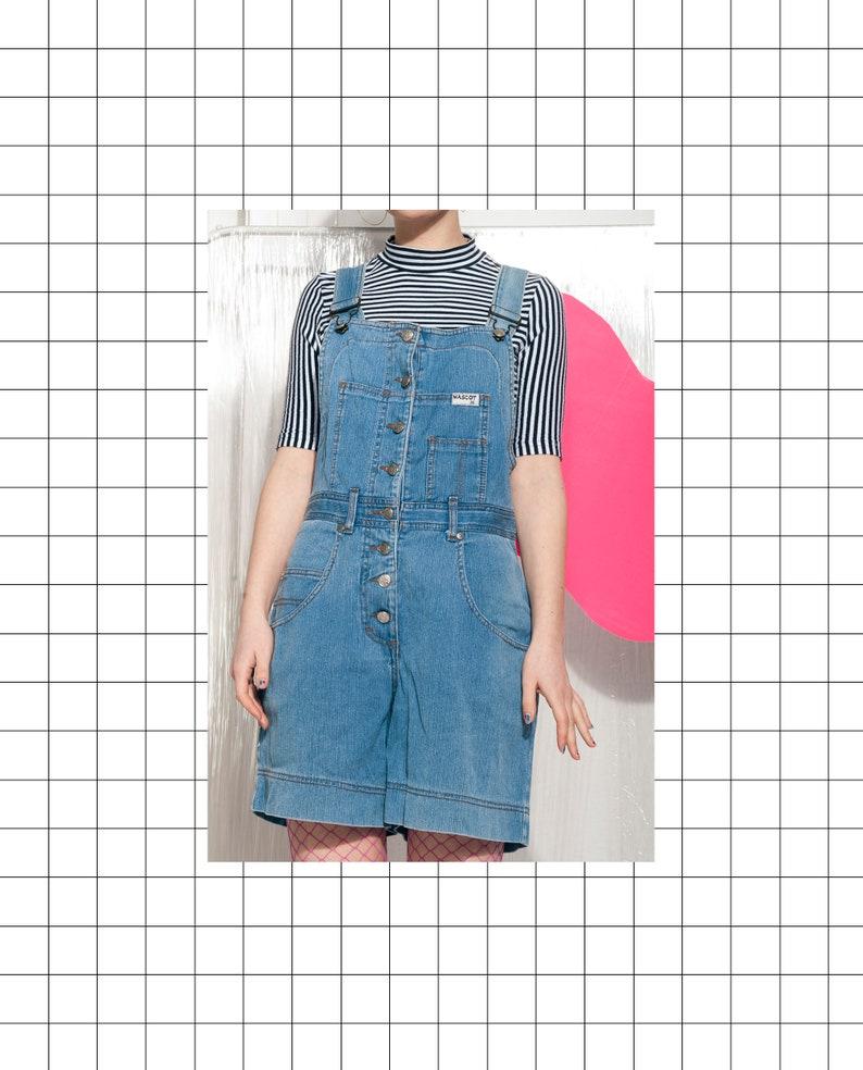 edfe7cee24 Denim dungaree shorts 90s vintage playsuit 90 s vntg blue