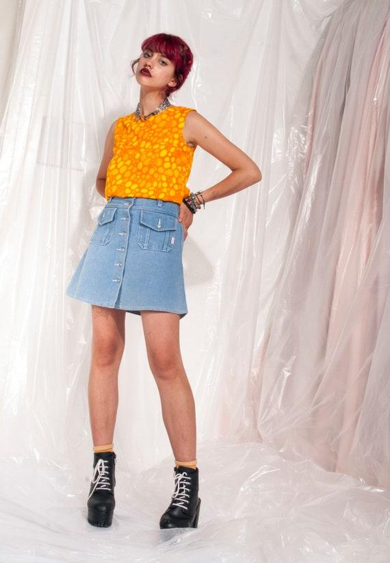 Vintage Button-up Denim Skirt 90s High-waisted Gr… - image 3