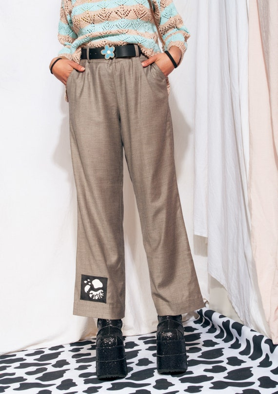 Vintage Trousers 90s Reworked Wide-leg Flare Suit… - image 7