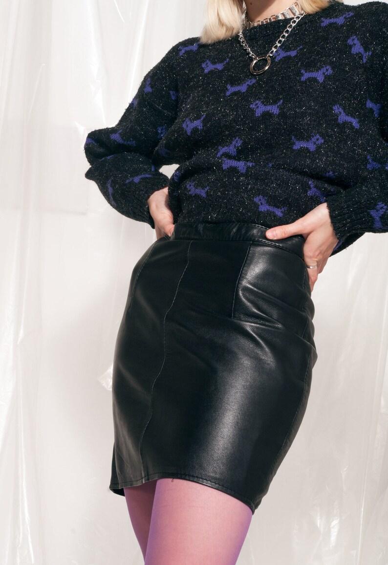 Vintage leather skirt 80s high-waist black minimalist mini 80/'s vntg genuine leather skirt Grunge skirt Sustainable leather skirt