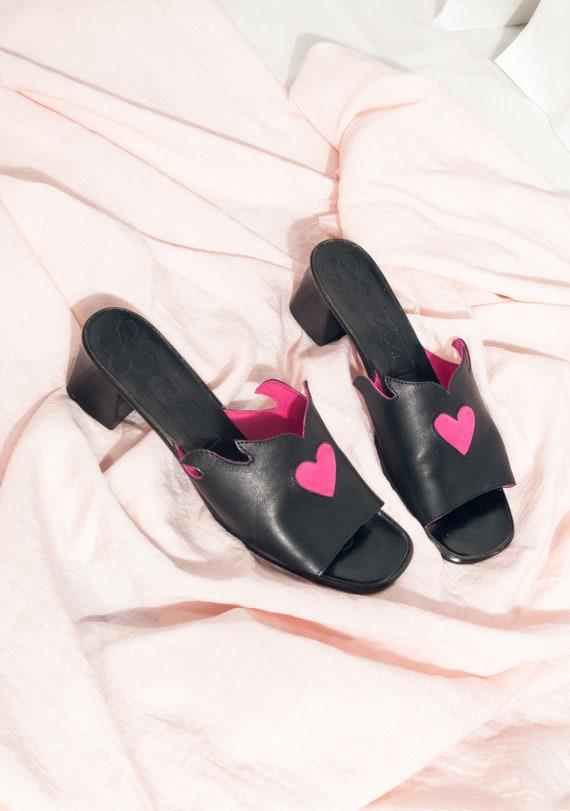 Reworked Leather Sandals Y2K Vintage Pink Heart Sl
