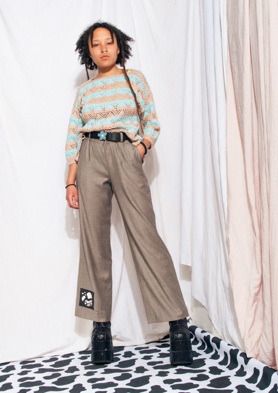 Vintage Trousers 90s Reworked Wide-leg Flare Suit… - image 1