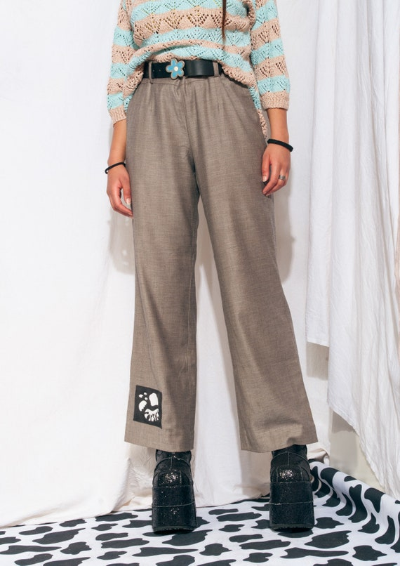 Vintage Trousers 90s Reworked Wide-leg Flare Suit… - image 3
