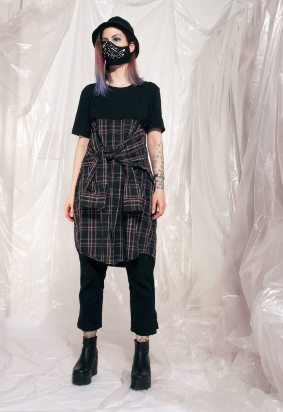 Vintage shirt dress Reworked one-off deconstructed midi tee dress Y2k 90s grunge handmade cotton checked striped shirtdress