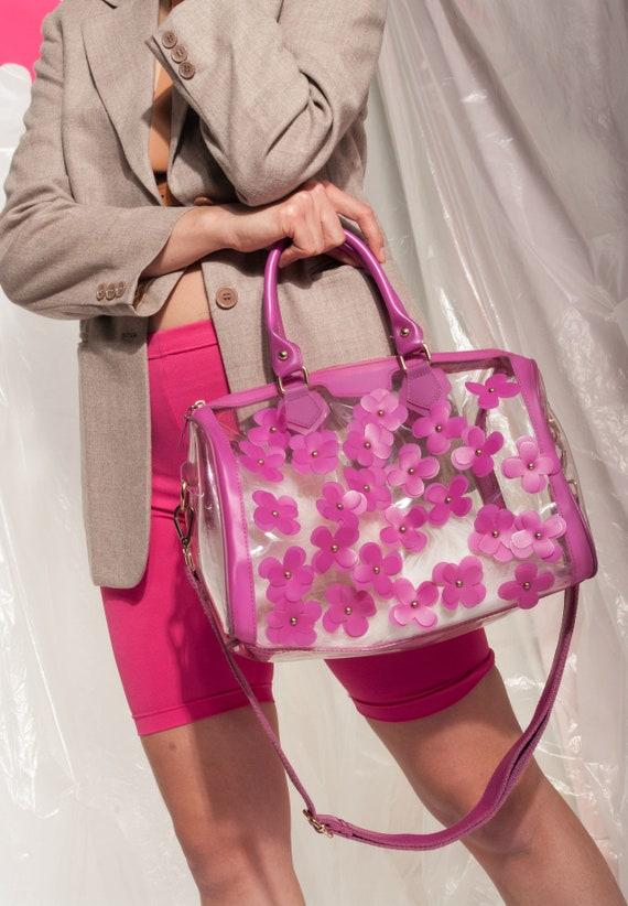 Vintage clear PVC bag Y2K floral pink shoulder bag