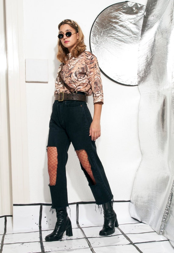 f704327e1790c Cropped jeans 90s vintage reworked cut-out denim trousers 90's vntg  high-waisted black grunge pants