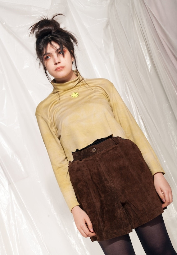 Vintage leather shorts 80s brown suede high-waiste