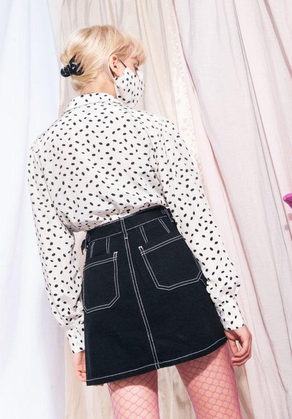 Vintage denim skirt 90s button front black high-w… - image 3