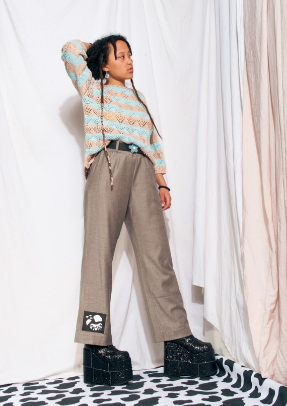 Vintage Trousers 90s Reworked Wide-leg Flare Suit… - image 5