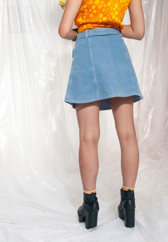 Vintage Button-up Denim Skirt 90s High-waisted Gr… - image 5