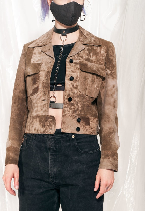 Vintage leather jacket 70s handmade suede crop bla