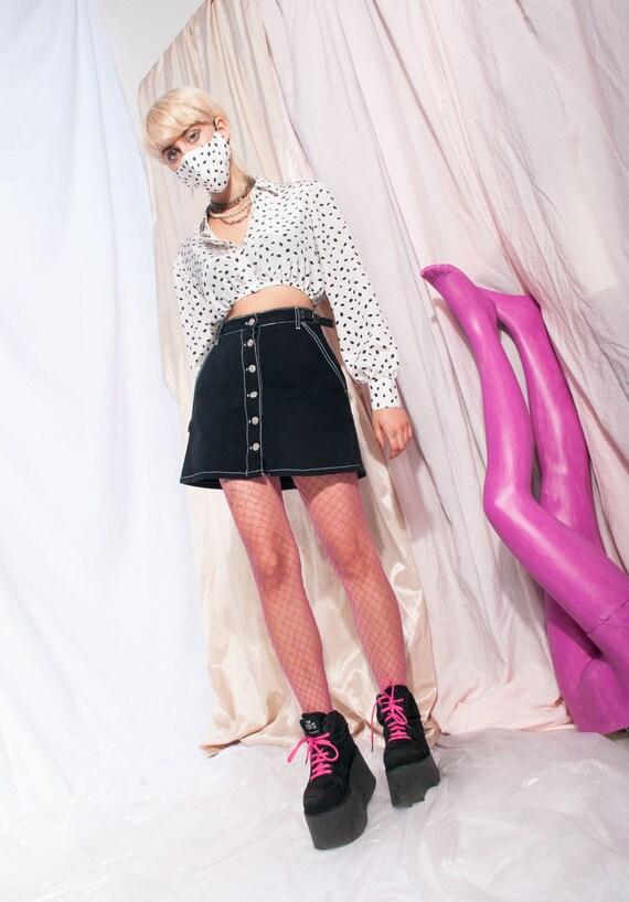 Vintage denim skirt 90s button front black high-w… - image 1