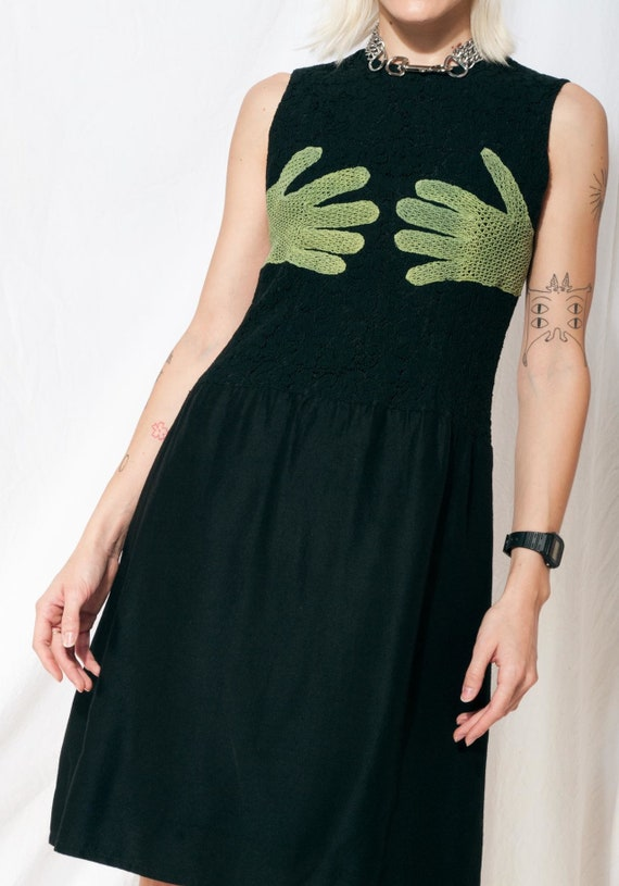 Vintage 60s mod reworked glove dress in black 60's