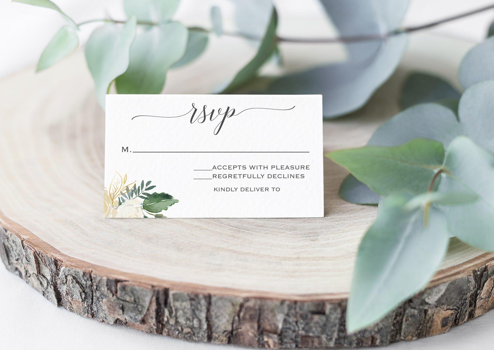 Plantilla de aceptación de invitación rsvp tarjeta de