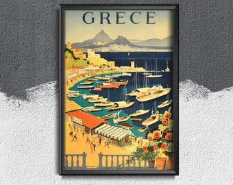 Greece Travel Poster Vintage Poster, Vintage Wall Art, Tourism Poster, Holiday Time #270