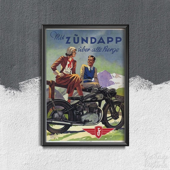 VINTAGE ZUNDAPP MOTORCYCLE MOTORBIKE ADVERTISING A2 POSTER PRINT