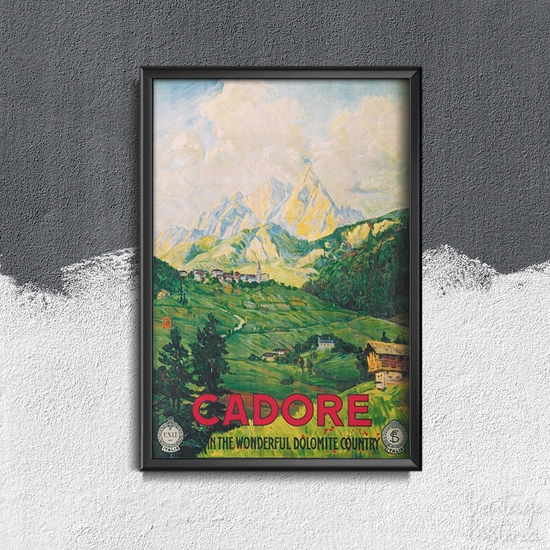Italy Cadore Travel poster Vintage Poster Retro Travel Print World Travelling #336 Vintage Home Decor