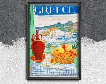 Greece Travel Poster Vintage Poster, Self Adhesive Print, Travel Decor, Holidays Wall Decor #346