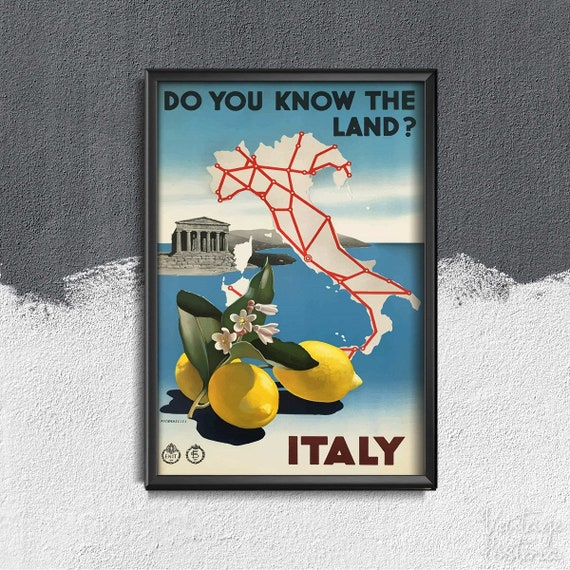 Italy Italy Vintage Travel Poster Do You Know the Land
