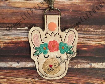 Llama With Flowers Snap Tab ITH Machine Embroidery Design Digital File