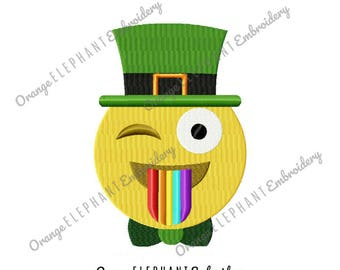 Emoji St Patrick's Day Machine Embroidery Design Digital File