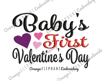 Baby's First Valentin's Day Machine Embroidery Design Digital File