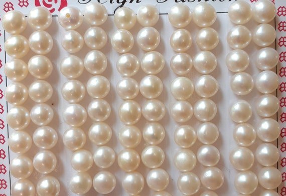 Natural Peach Pink Button Half-drilled Freshwater Pearls for Making Earrings AAA
