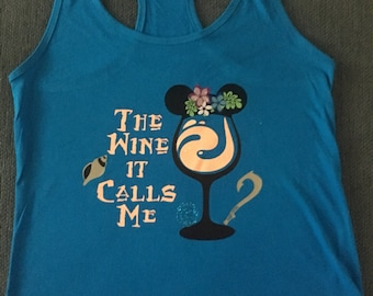 Womans racerback tank // moana tank//wine moana shirt// disney moana drinking shirt//