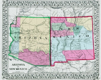 Old new mexico map | Etsy