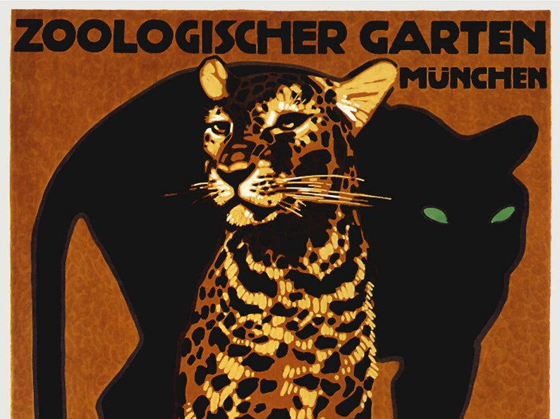 1912 Munich LUDWIG HOHLWEIN  German Travel Zoo Poster Zoologischer Garten