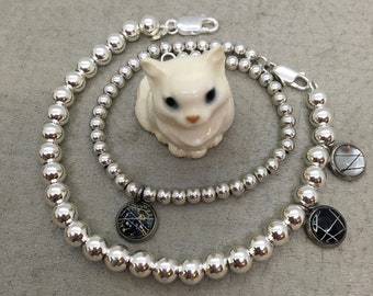 925 Sterling Italian Bead Ball Bracelet with Whisker Charms