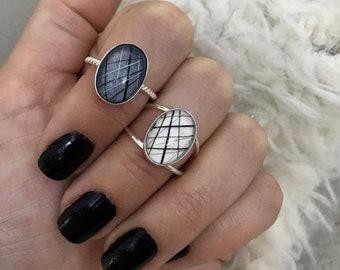 Sterling Silver Oval Whisker Rings