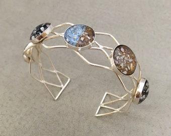 5 Bezel Sterling Bracelet Cuff