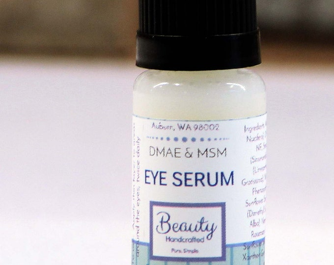 Premium Eye or Facial Serum, Small / DMAE & MSM Serum / Vegan / Facial Moisturizer / Eye Gel