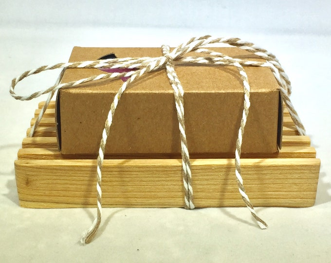 Soap & Wooden Soap Dish Gift Set / Natural