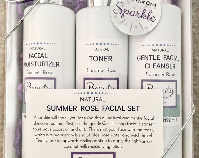 Facial Skincare Trio / Gentle Cleanser / Aloe & Rose Water Toner / Facial Lotion/Moisturizer / Gift Set / Natural / Essential Oil