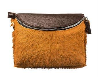 Handmade fur crossbody bag