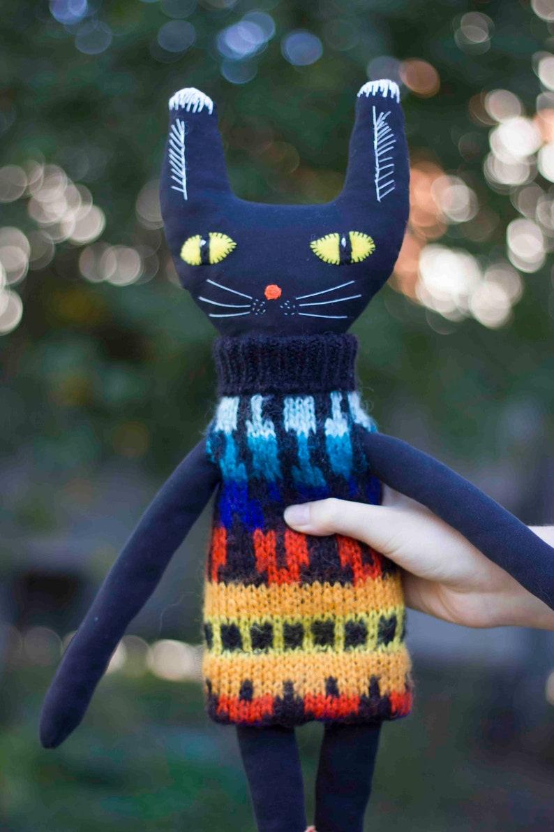 black cat doll,original gift,doll cats,cat lover gift,Cat rag doll,Art doll cat,soft doll,Art dolls,cat rag