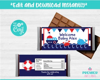 5153da61fa6f Instant Download Editable Printable 5.25 x 6.25in Nautical Candy Bar Wrapper -BS002