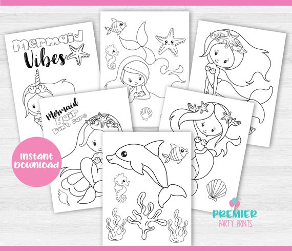 Instant Download Mermaid Coloring Pages-CP 001