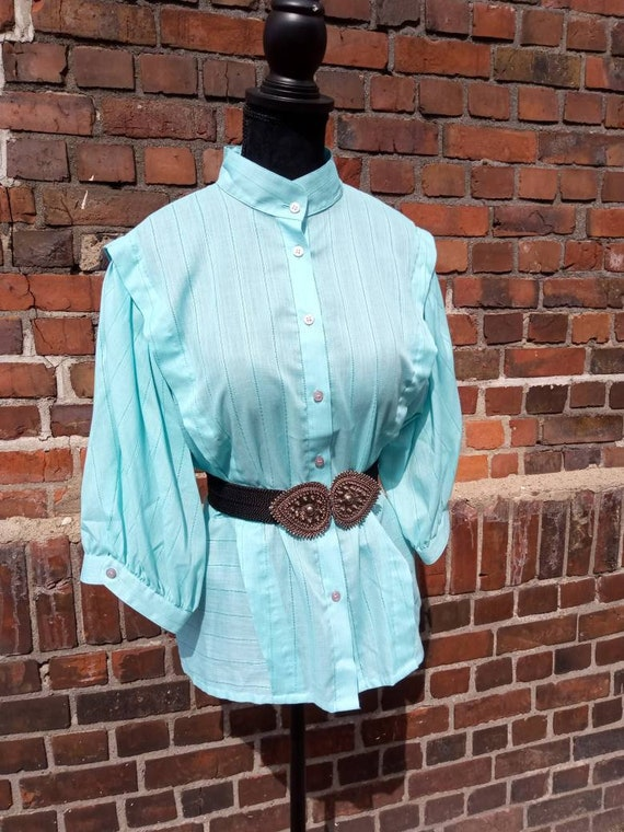 Vintage Blouse Folklore Mint