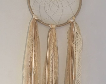 """The """"Margaux"""" - Lace & Feather Dreamcatcher"""
