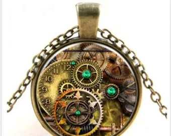 Steampunk Clock and Gears Cobochon pendant