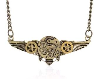 Bronze Steampunk Clock Gear Wings necklace