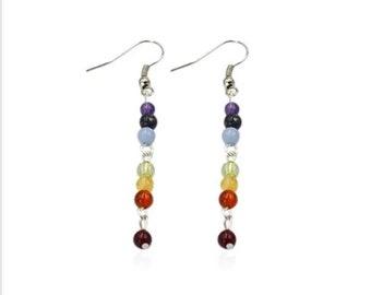 Seven point healing chakra earrings